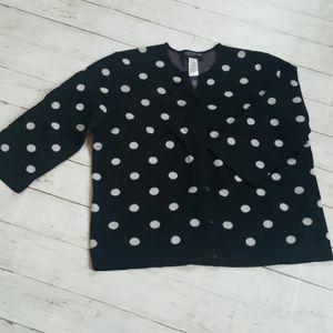 Jones new york polka dot 3/4 sleeve cardigan